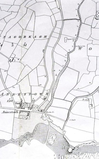 First edition map showing location of signal pole in the valley   OS map