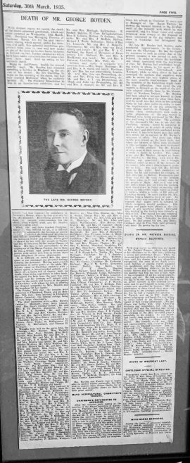 Obituary of Mr. George Boyden Manager Castlebar Bacon Company 1935 | Personal/ Connaught Telegraph