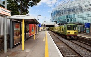 Lansdowne Railway Station platform with the Aviva station in the background | Iarnród Éireann Irish Rail
