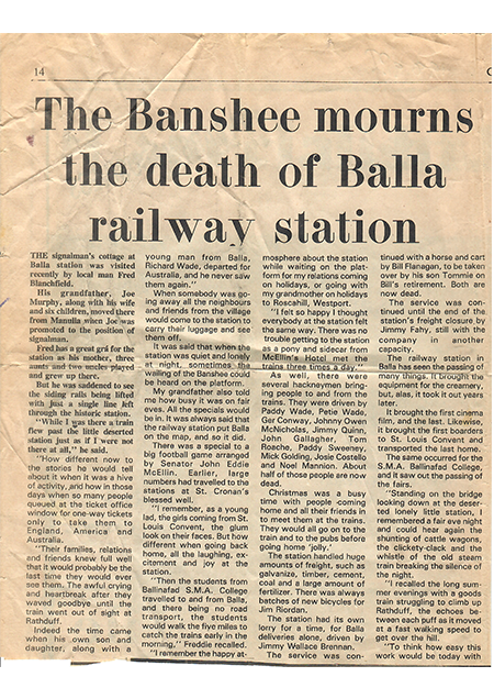 The Banshee mourns the Death of Balla Railway Station | Connaught Telegraph 1