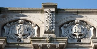 Munster and Leinster crests carved onto the balustrade of Heuston | Michael Barry