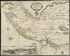 Map of New Jersey 1677 | https://commons.wikimedia.org/wiki/File:A_mapp_of_New_Jersey_in_America_(8642358759).jpg