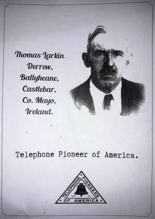 Photograph of Thomas Larkin, incorporating an early Telephone Pioneers of America symbol.  | Thomas Larkin archives/Michael Larkin