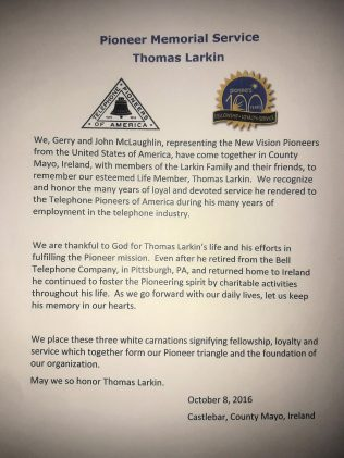 A President's message. Words spoken by the President of the Fort Pitt Telephone Pioneer Chapter, Pittsburgh at the headstone of Thomas Larkin in Killawalla cemetery. | Thomas Larkin archives/Michael Larkin