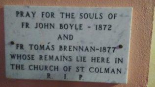 Plague inside St Colman's Church, Inisboffin Island, Co Galway | Mary Boyle