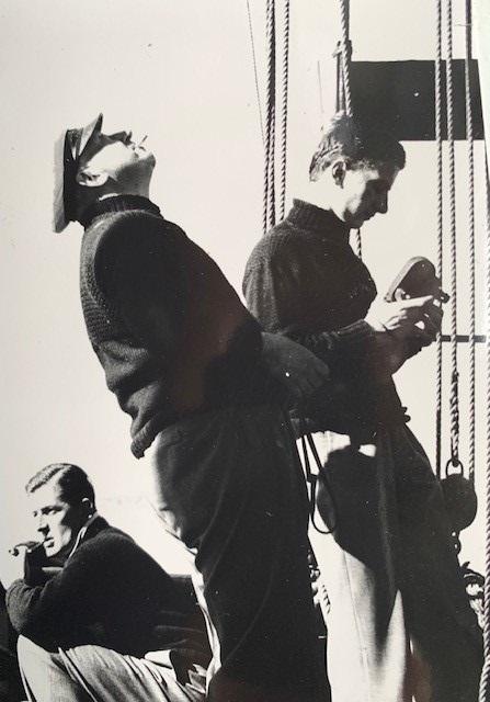 Bill Tracey, Morgan McMahon (skipper), Denis McMahon (Morgan's son) on