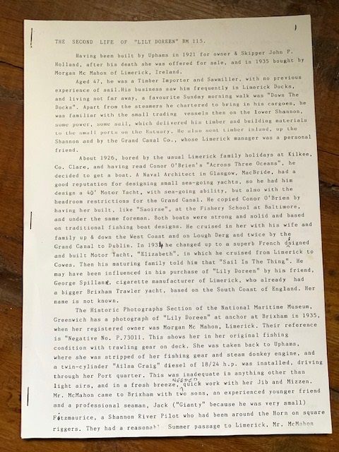 Page 1, 'The Second Life of 'Lily Doreen' by Brendan McMahon | McMahon Family Archive