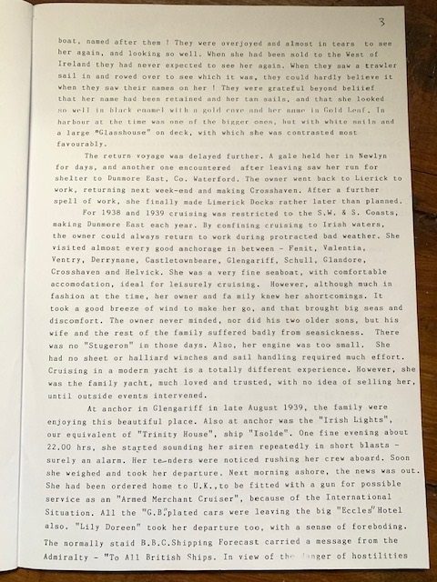 Page 3, 'The Second Life of 'Lily Doreen' by Brendan McMahon | McMahon Family Archive