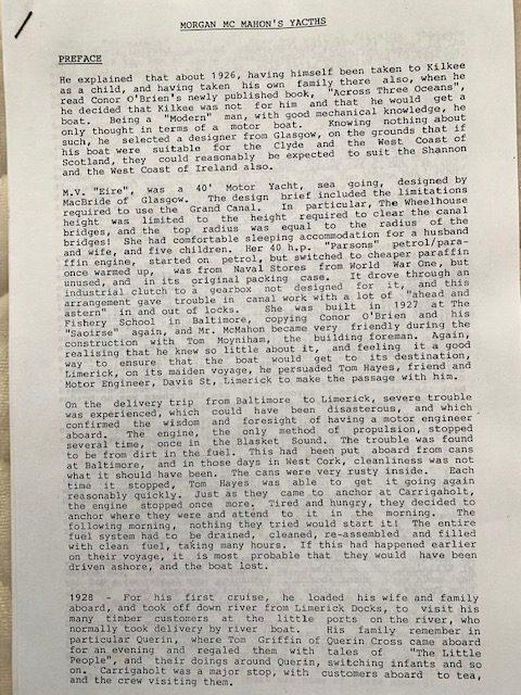 Page 1, Morgan McMahon's Boating History, 1989   McMahon Family Archive