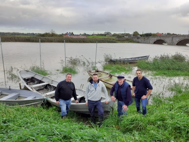 Denis O'Neill, Liam Keyes, Peter Byrnes and Tommy Roberts proudly display gandelows made for River Maigue Rowing Club at Ferrybridge near the mouth of the Shannon in Clarina, Co. Limerick. The River Maigue Rowing Club was formed as a way to renew local passion and knowledge of local river traditions in the Clarina area   Daniel Clancy