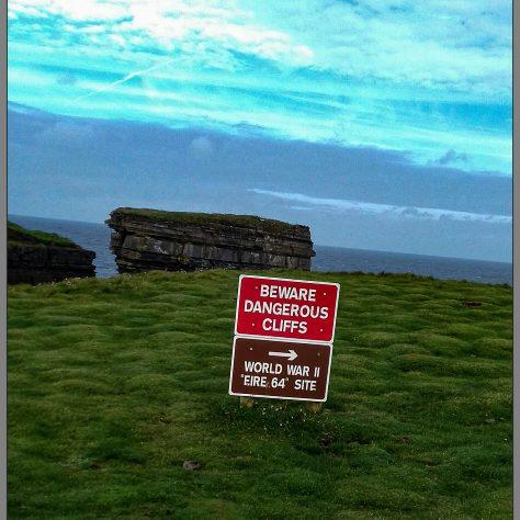 World War II sign on the top of Dún Briste   Noelene Beckett Crowe