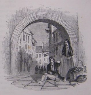 Woman and Boy beside an Archway on a Galway Street. Based on an Evans of Eton watercolour of 1838. | (Hall, 1843, 453)