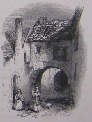 Old Archways with Woman in Red Shawl, Galway. Based on an Evans of Eton watercolour of 1838. | (Hall, 1843, 457)