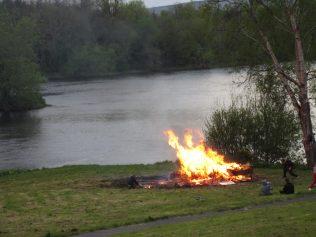 May Eve bonfire, Shannon Banks, Athlunkard, Co. Clare. | Eorann Kavanagh
