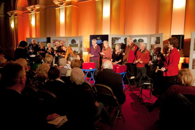 Participants performing at the launch of Samhain exhibition in Dublin, November 2014