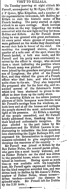 Mr Parnell Visits Killala | Western People 25 April 1891