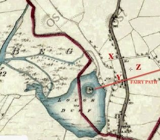 The 1829 Ordanance Survey Map of the area depicts Lough Duff with the island & tree.Our home is marked X, the wooden cabin Y & the second field Z. | Map © OSI.ie