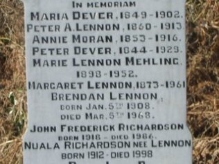 Grave of Peter Lennon, Master of the Workhouse and his Family in Aughavale Cemetery, Westprt. | Author, personal photograph