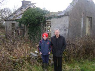 Alan and his grandad at the ruins of Derrygorman National School