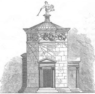 The Tower of the Winds, Athens, Greece, on which the Penfold Pillar Box was modelled. | Image from KIDDER, D. P. (1852) Athens: Its Grandeur & Decay. New York: Lane & Scott.
