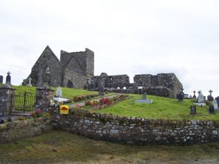Burrishoole friary, east window of the choir is to the left, cloister to the right of the image