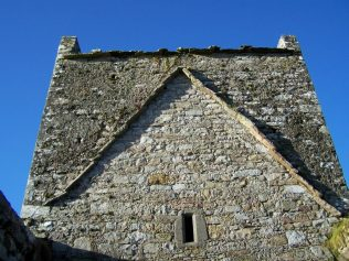 Crossing tower, Burrishoole friary.  It is broad and short and echoes the style of tower constructed by the Cistercians in Ireland