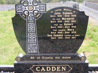 The Cadden Headstone in Glenisland cemetery   The Cadden family