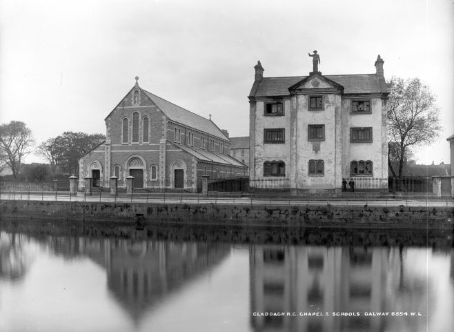 St. Mary's Church & Piscatroial School, The Claddagh, c. 1900. | Courtesy of the National Library of Ireland.