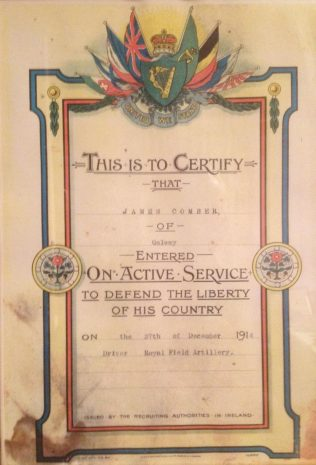 Certificate of Enlistment of James Comber.   Courtesy of Gerald Comber.