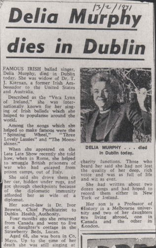 Delia Murphy | Arts Craft and Culture | Our Irish Heritage