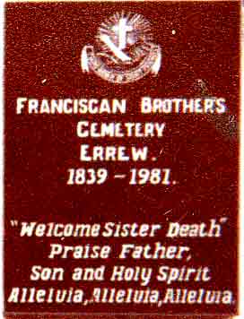 Detail of Plaque on Gate to the Franciscan Brothers Cemetery in Errew | www.castlebar.ie