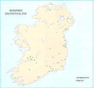 May Eve fires distribution Map, Caoimhín Ó Danachair | Atlas of Ireland, Royal Irish Academy 1979