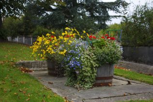 Flower barrells beside river | Dunlavin Tidy Towns