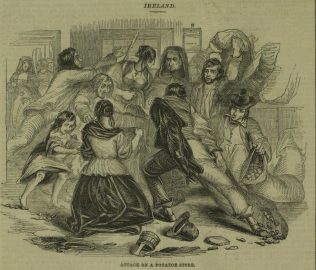 Attack on a Potato Store.   Illustrated London News, 25 June 1842, p. 100.