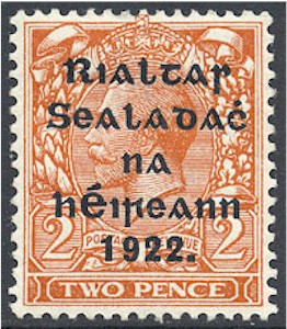 Overprint stamp featuring George V, which has been stamped with