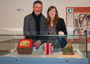 Gerry Murphy with his daughter Rebecca from Navan, Co. Meath visiting the Museum of Country Life Saturday 7th December 2013 to see his accordian on display | Tony Candon, NMI