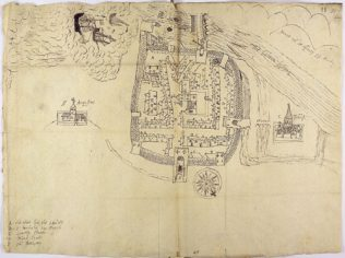 'A plot of the town of Galway' by Barnaby Gooche, 1583. | Courtesy of the National Archives, UK.
