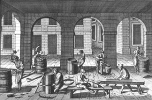Coopers making barrels (18th Century).