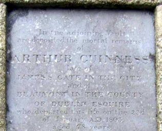 The gravestone of Arthur Guinness at Oughterard. | Findagrave.com