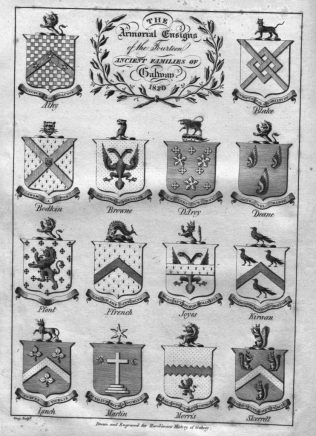 Armourial Ensigns of the 14 Ancient Families of Galway.   (Hardiman, 1820)