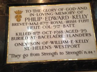 Plaque to commerate Philip Edward Kelly in Holy Trinity Church Westport | Author Personal Collection