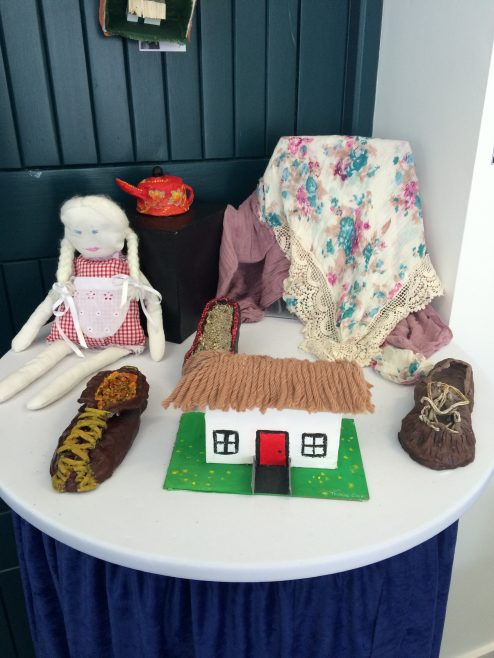 l-R: Doll by Saoirse Burke, Shoes by Laura Senson, Teapot by Rachel Doherty, Headscarf by Sarah Moran, Wee House by Derbhla Keane, Old Shoe by Maelíosa Kyne