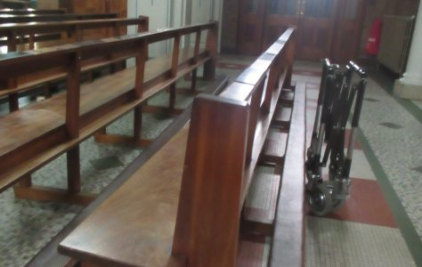 Benches on the right hand side of the Church