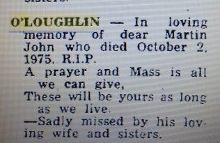 Family Tribute to Martin John on his Ist Anniversary | Mayo News, Oct 2nd 1976