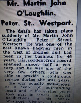 Martin John (section of his obit in October 1975 | Mayo News, Oct 2 1975