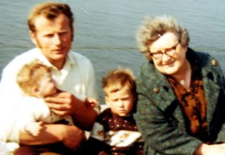 Vincent, Aunt Maggie, Adrian and Susan on Black Head, Co. Clare.