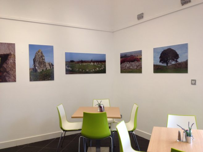 Selection of photography in the cafe.
