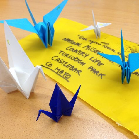 Origami cranes posted into the museum