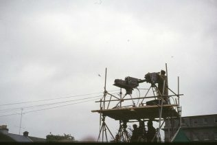 Television cameras capure the presidential visit to Galway. | Courtesy of M. Kelly, Cong.