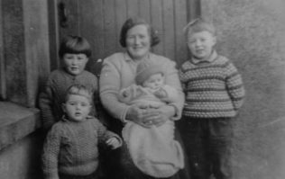 Late 1967 in Monatrea, the author is seen on the extreme right.  Also included are his mother holding baby Catherine O'Mahony, and Angela and Maurice, siblings of author Gerry O'Mahony | Gerry O'Mahony